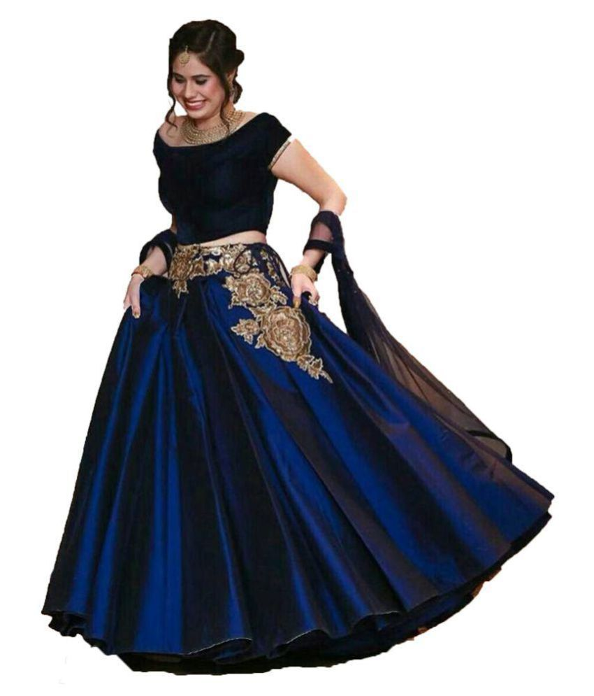 9ca471cfff Ghagra choli designs Blue Cotton Circular Semi Stitched Lehenga - Buy  Ghagra choli designs Blue Cotton Circular Semi Stitched Lehenga Online at  Best Prices ...