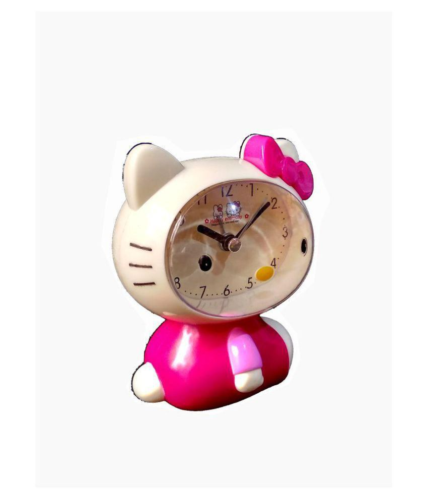 hello kitty design small oval alarm clock for kids color pink buy rh snapdeal com