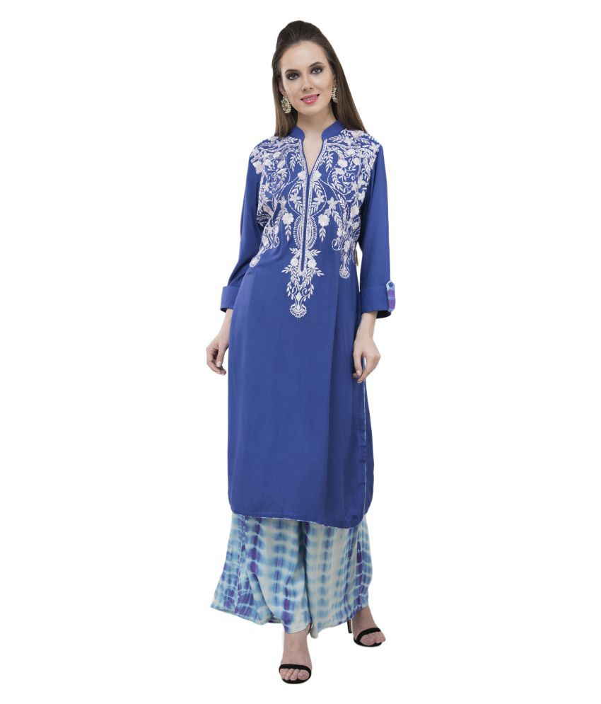 katyal's couture Blue Cotton Silk Straight Kurti
