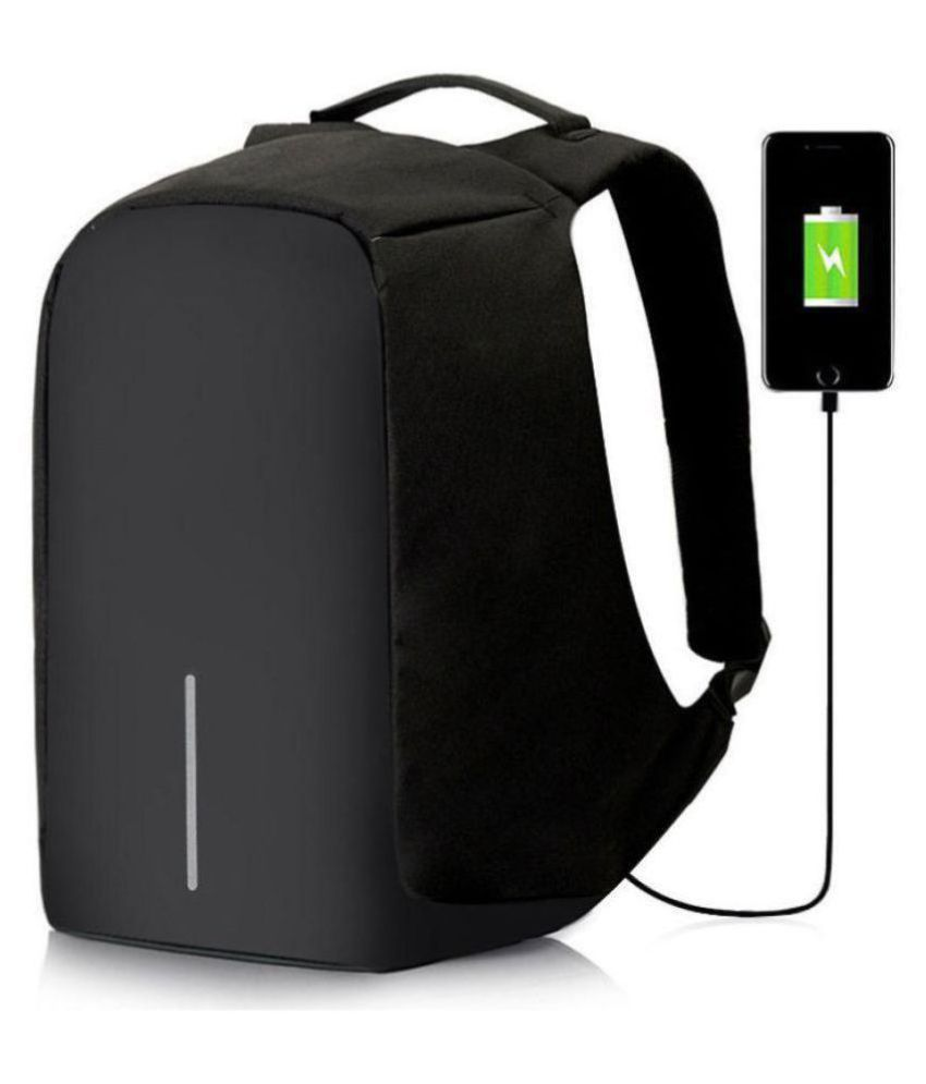 4058fb32e79e Black Anti Theft College Bags Backpacks With USB Charging Port