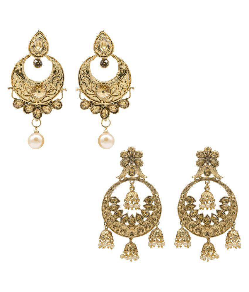 Kiyara Accessories Fashion Jewellery Classic Floral Chandbali Jhumki Pearl Combo Earring Set for Women and Girls