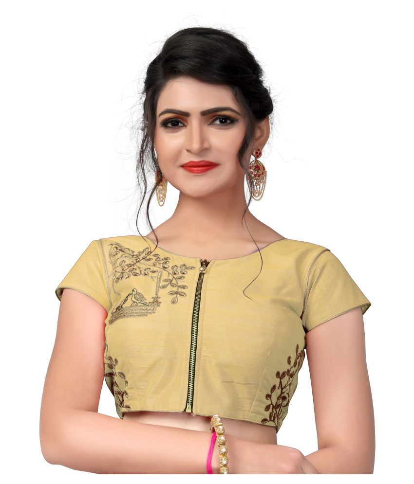 Amrutam Fab Beige Silk Readymade with Pad Blouse