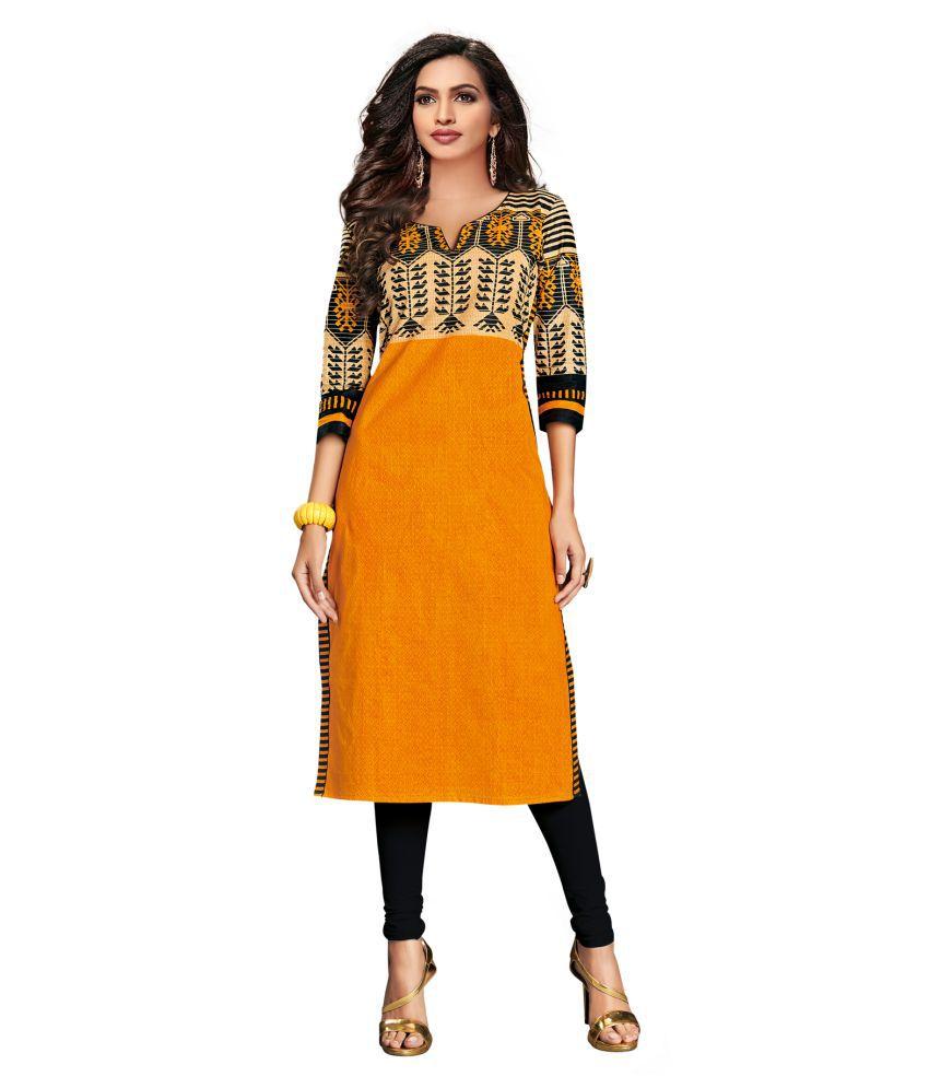 Salwar Studio Gold Cotton Straight Kurti