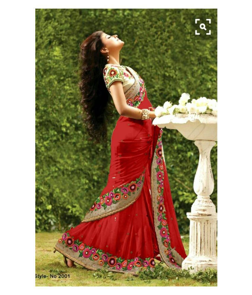 Universal Fab Red Georgette Saree