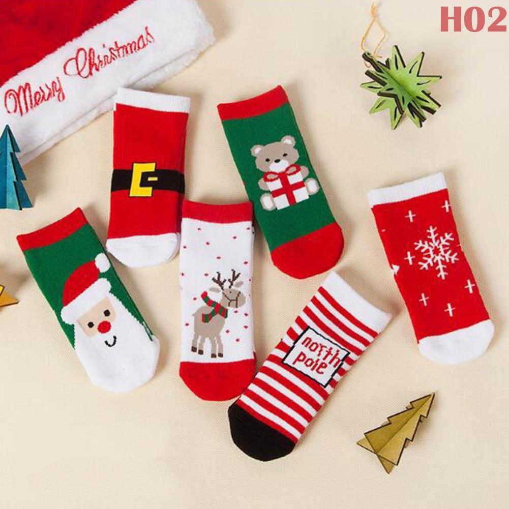 Winter Warm Kids Children Christmas Socks Santa Claus Baby Xmas Cotton Stockings