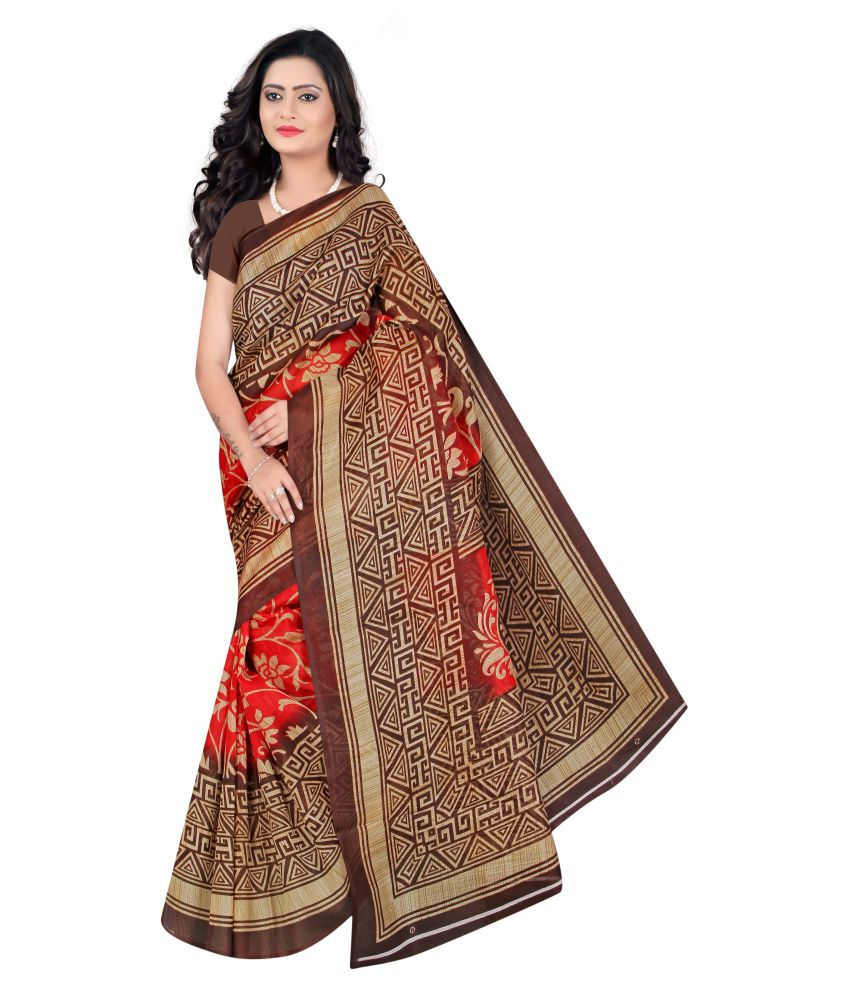 Vkaran Brown and Beige Art Silk Saree