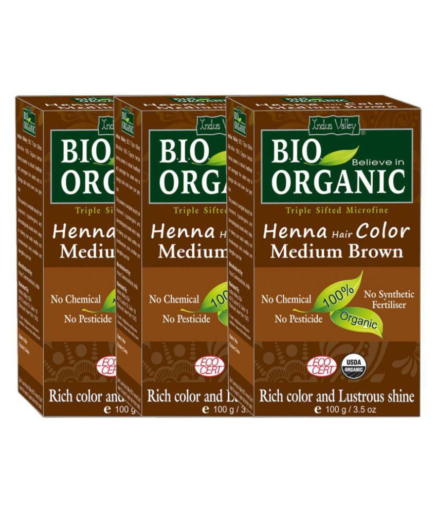 Indus Valley Bio Organic Medium Brown Henna Pack Of 3 300gm Organic