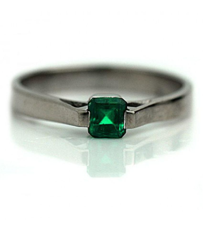 Jaipur Gemstone 92.5 Silver Emerald Ring