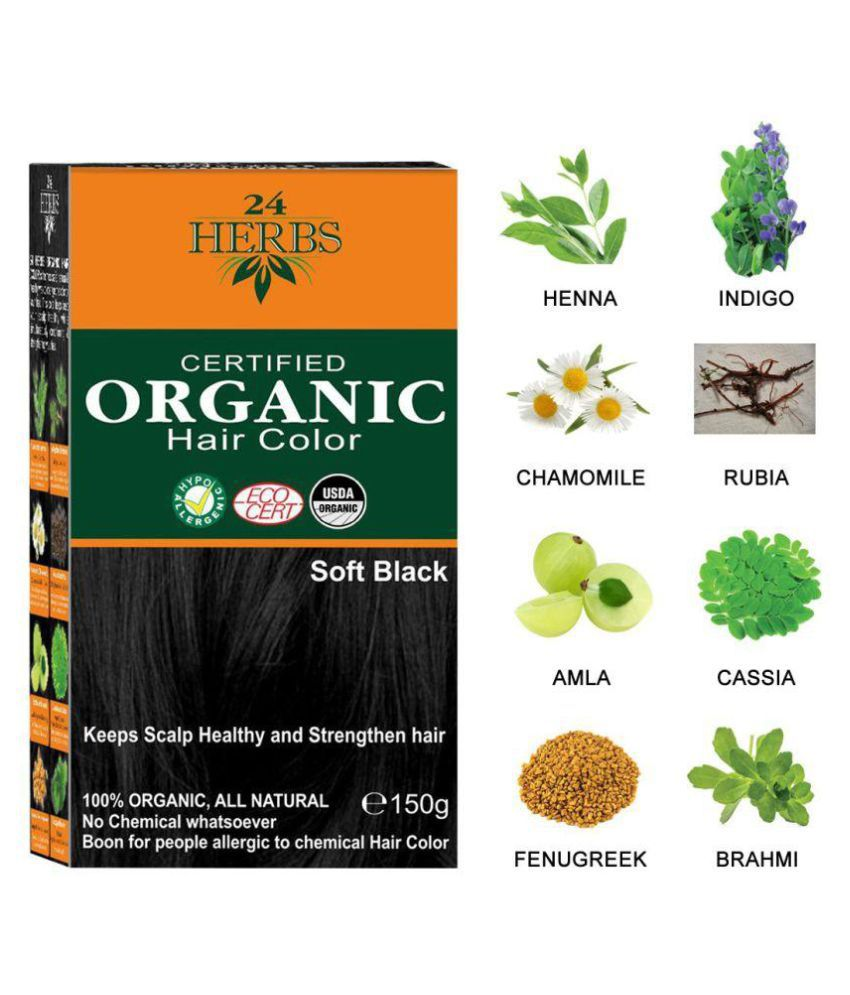 24 HERBS Certified Organic Soft Black Hair Color Semi Permanent Hair Color Black Soft Black 150 gm