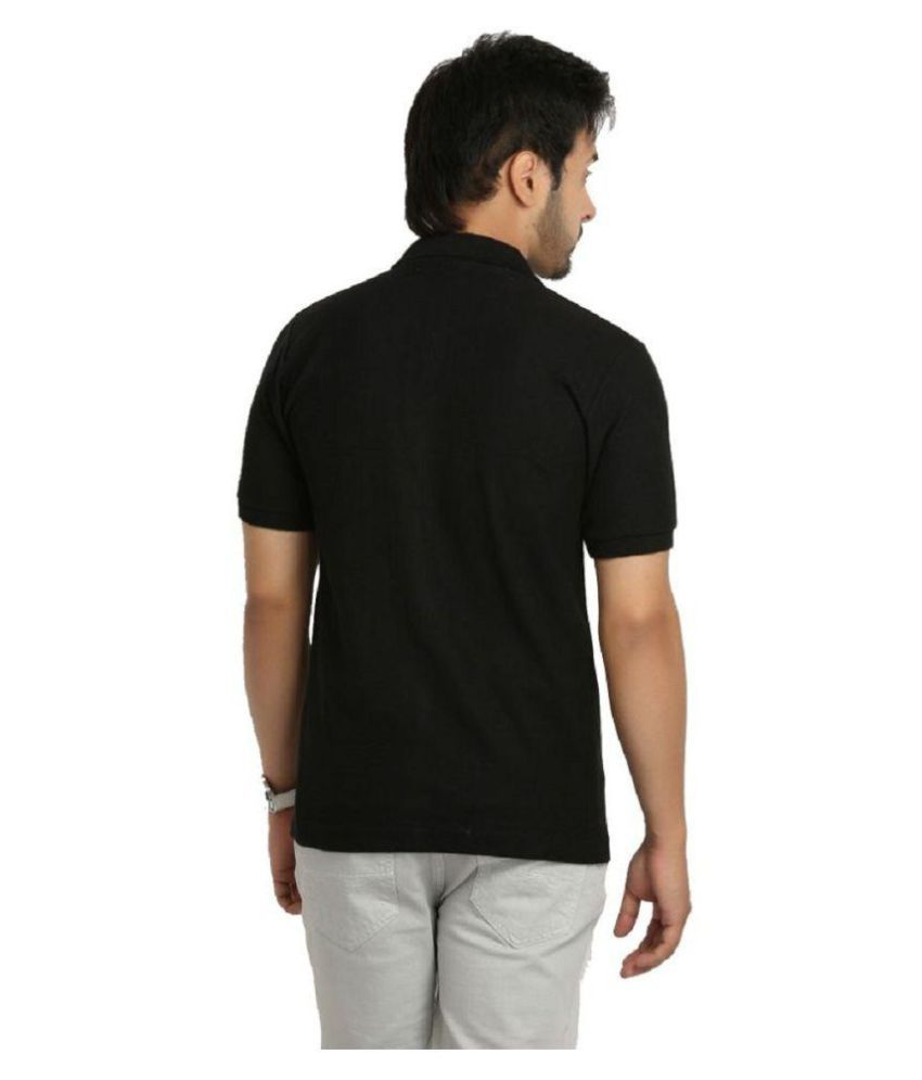 Tanvi Creations Black Cotton Polo T-Shirt Pack of 2