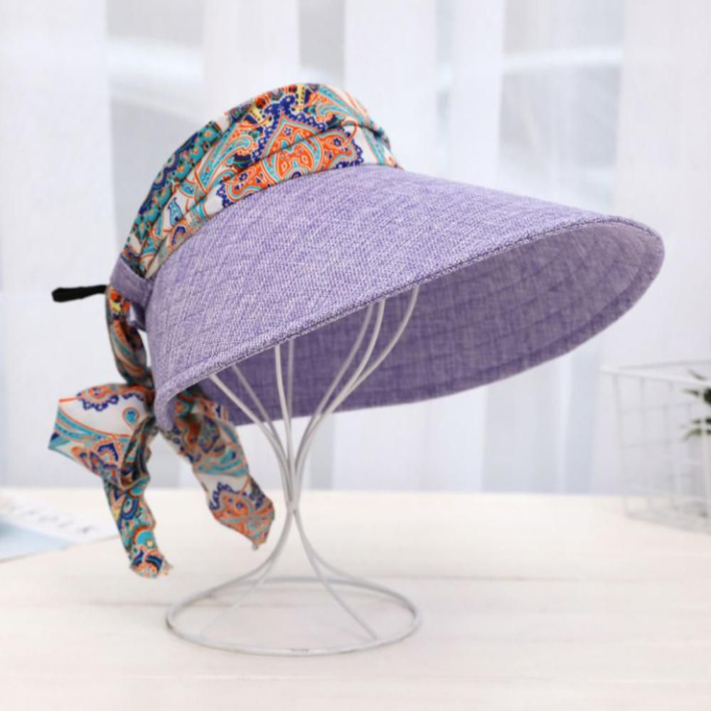 ... Womens Summer Flowers Printing Wide Brim Empty Top Sun Hats Casual  Sunshade Beach Hat Baseball Cap ... 271c49fc361