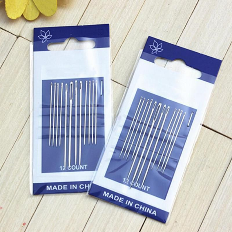 12Pcs//set Thick Big Eye Sewing Self-Threading Needles Embroidery Hand Sewing