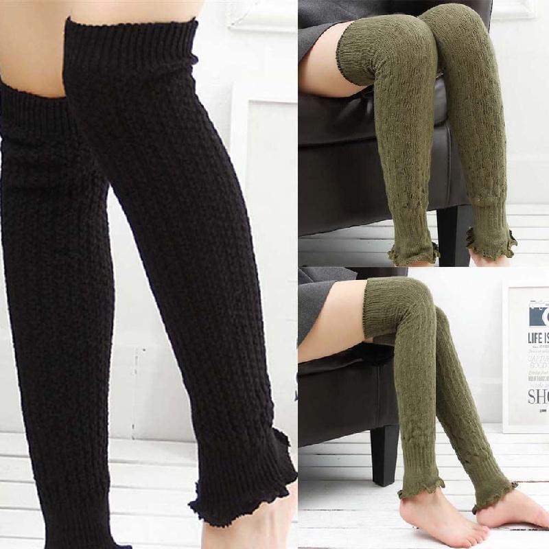 New Women Winter Warm Knit Crochet High Knee Leg Warmers Leggings Boot Socks
