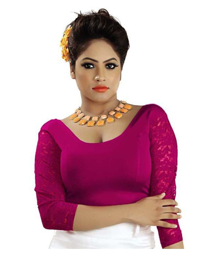 ABHI Pink Net Readymade without Pad Blouse