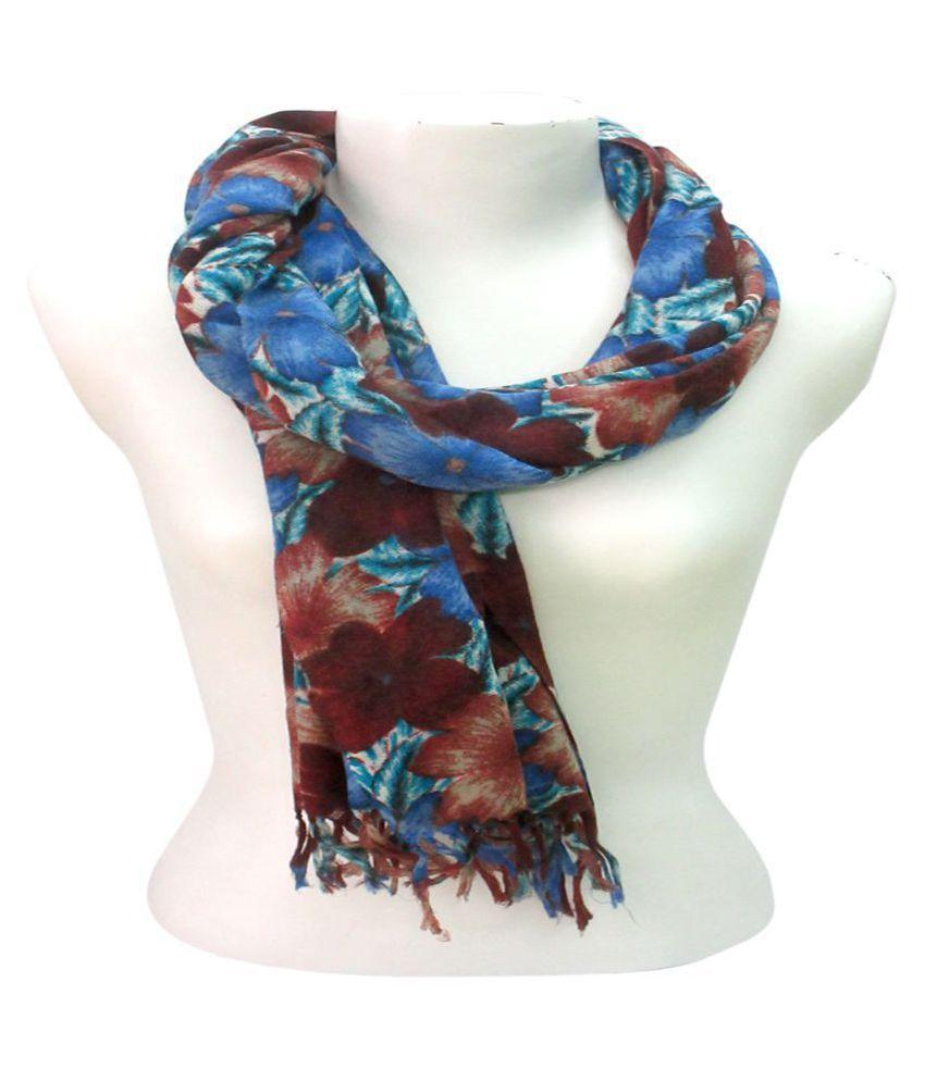 DUSHAALAA Multi Floral Wool Scarves