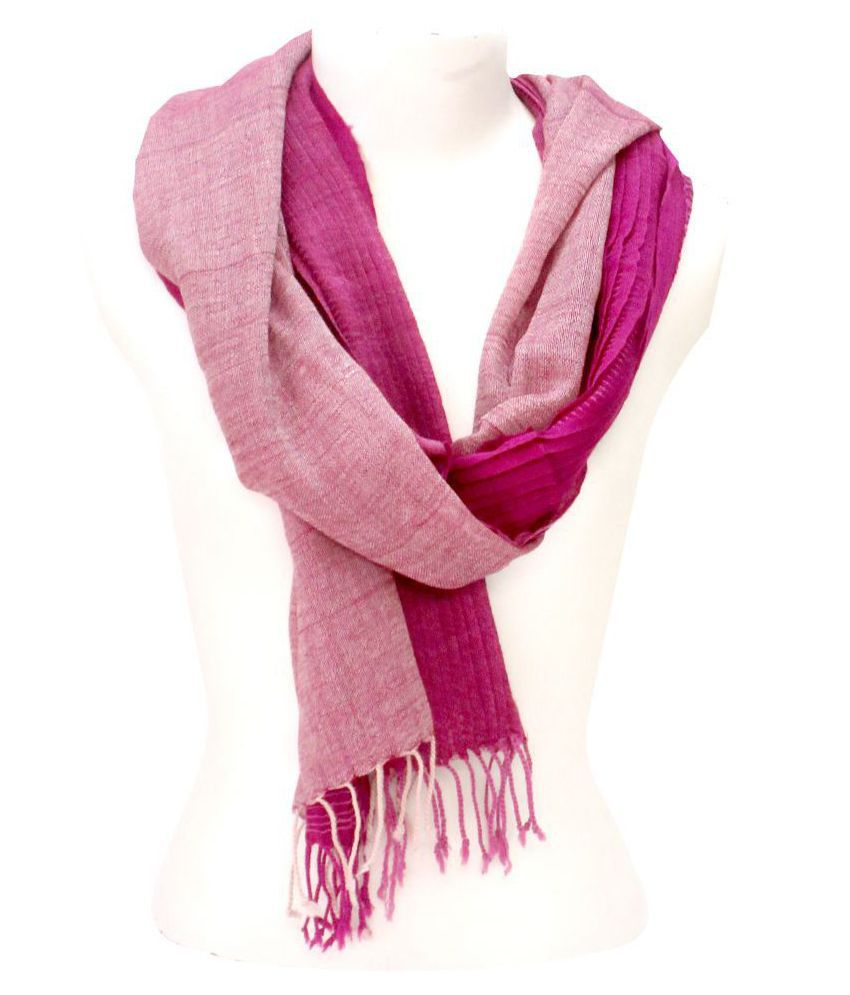 DUSHAALAA Pink Stripes Wool Scarves