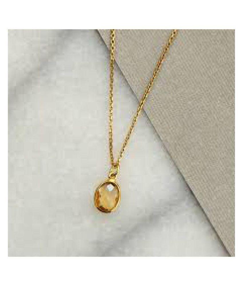Jaipur Gemstone Citrine Substitute Yellow Sapphire Pendant of 5 25 Ratii