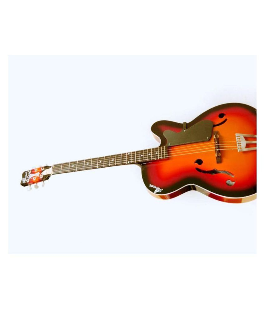 Hovner Crown F Cut Sunburst Orange Rosewood Fretboard Black Acoustic