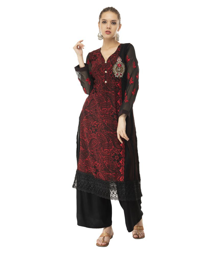 katyal's couture Red Georgette Straight Kurti