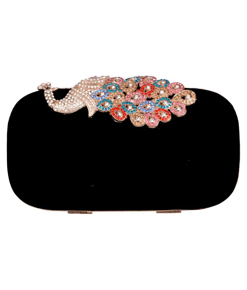 Butterfly Bags Black Pure Leather Box Clutch