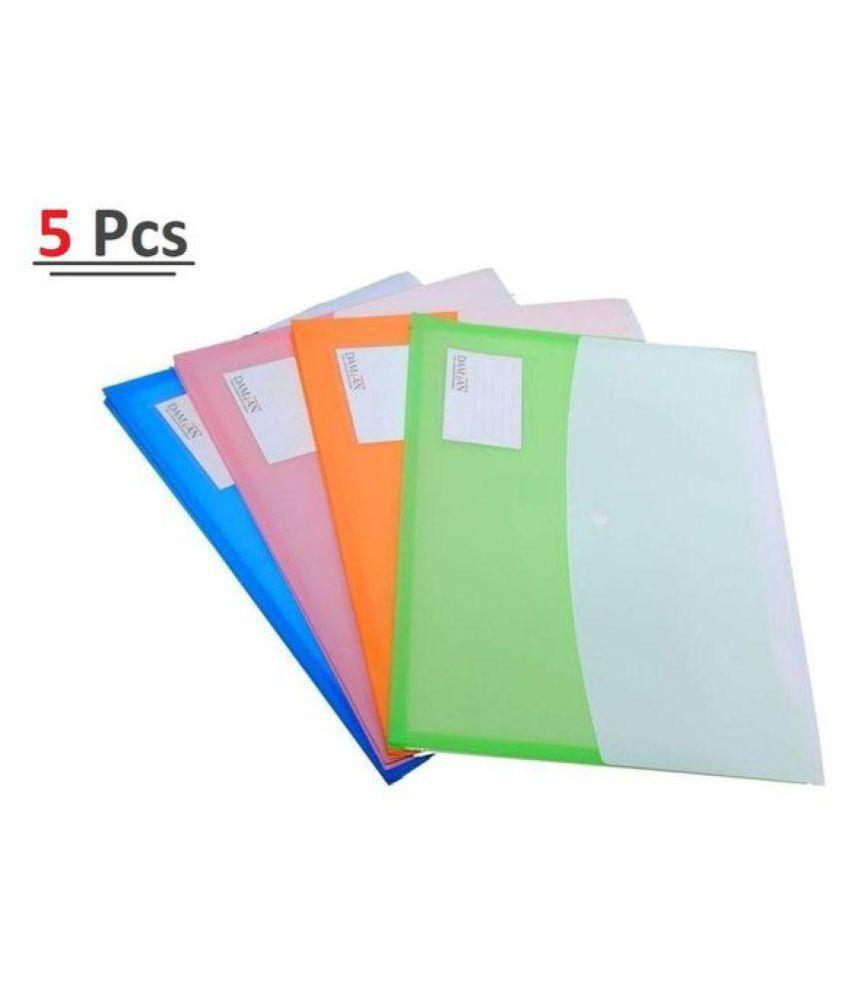 JARANI A4 Document Certificate File Folder Snap Button Closure Assorted Colors- Set of 5 Pcs