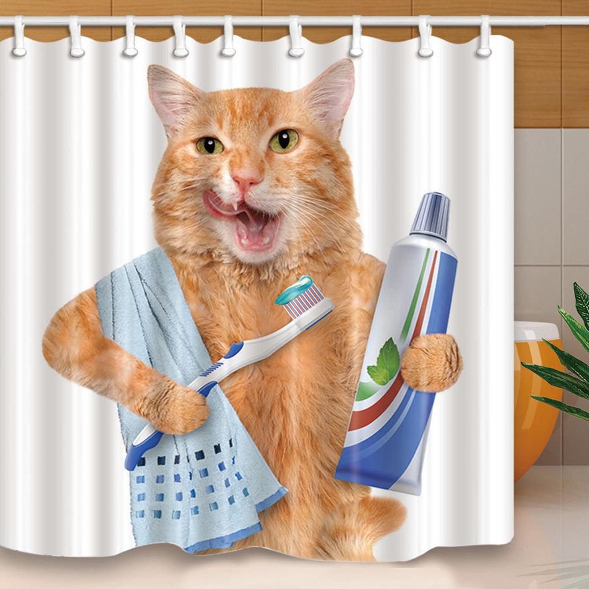 Buy Morning Cat Waterproof Polyester Shower Curtain Home