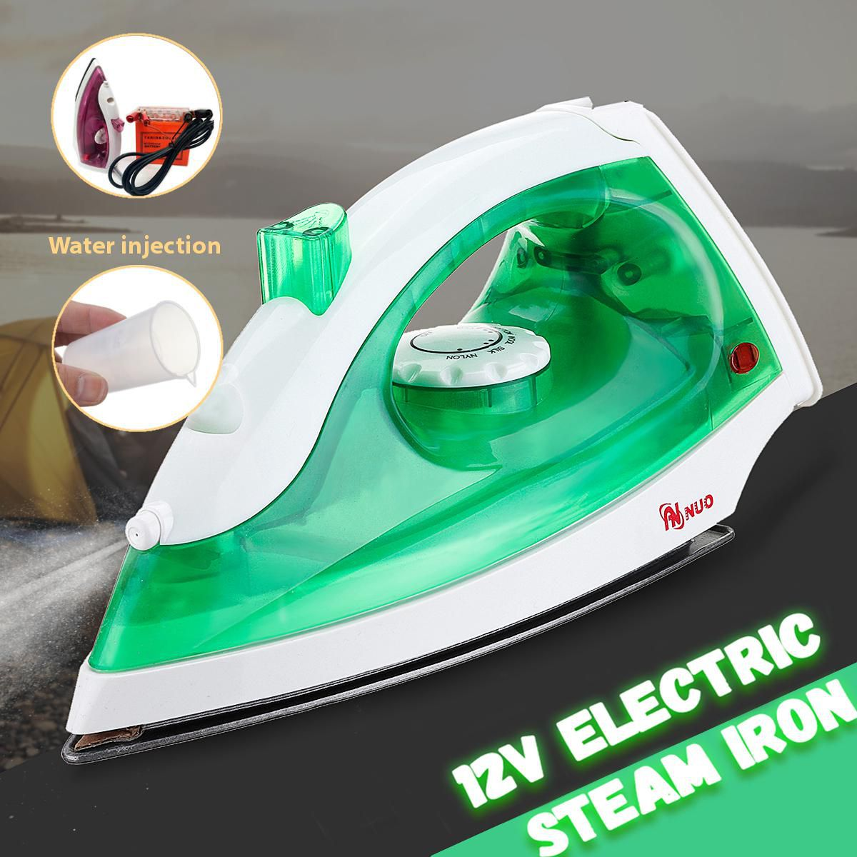 Portable Handheld Steam Iron Electric For Travel&Camping Light Weight 12V 150W