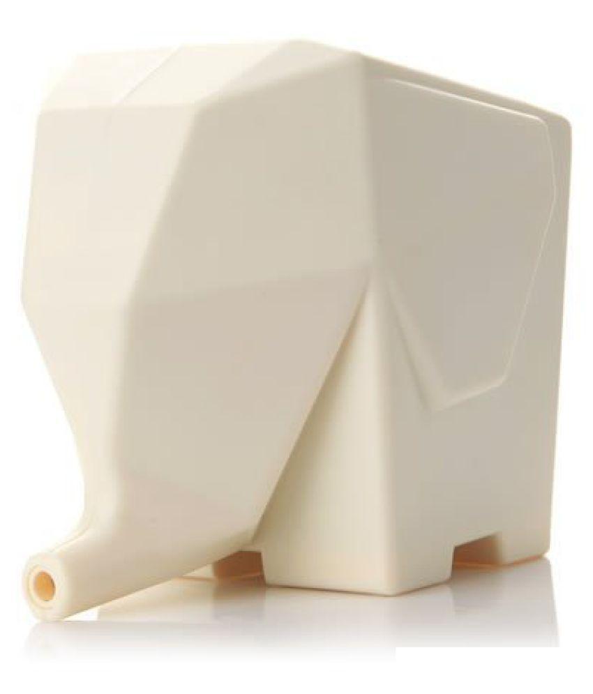 Multi-use high Quality ABS Plastic Kitchen/Bathroom/Washroom/Plant Flower Pot Elephant Shape with Water Drain Hole (Cream)