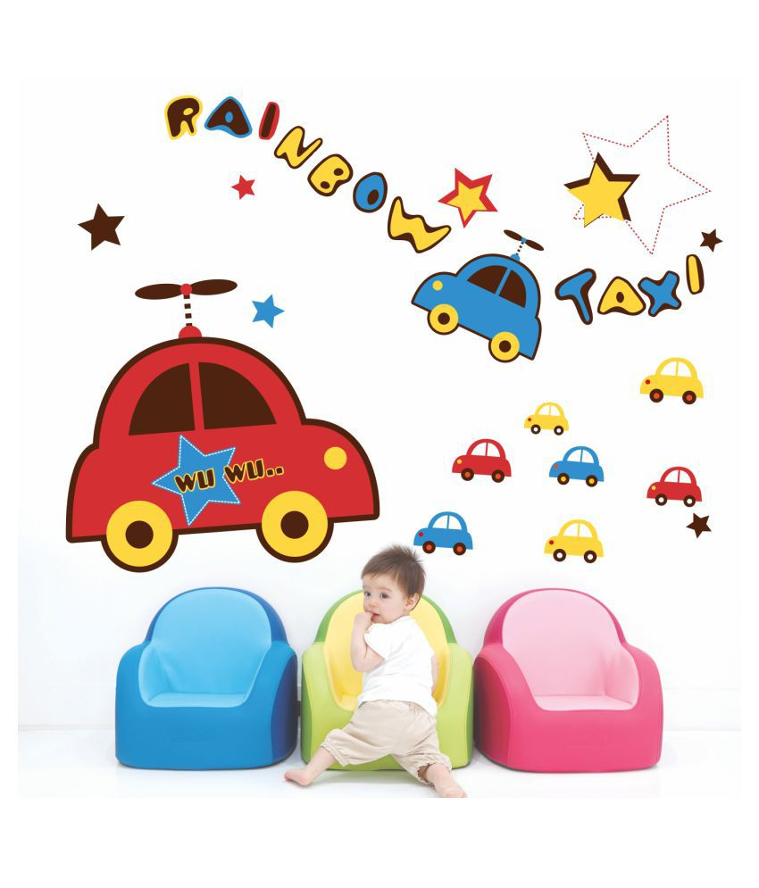 100 Pictures Cartoon Characters stickme colourful taxi kids cars wall sticker - sm 333 cartoon characters  sticker ( 100 x 75 cms )