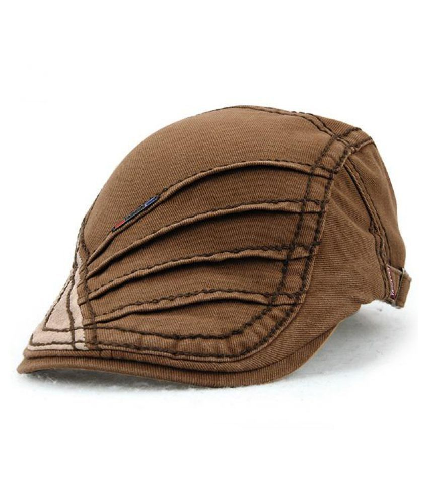 0fe972b6 ... Unisex Cotton Stripe Beret Hat Duckbill Golf Flat Buckle Visor Cabbie  Cap For Men Women