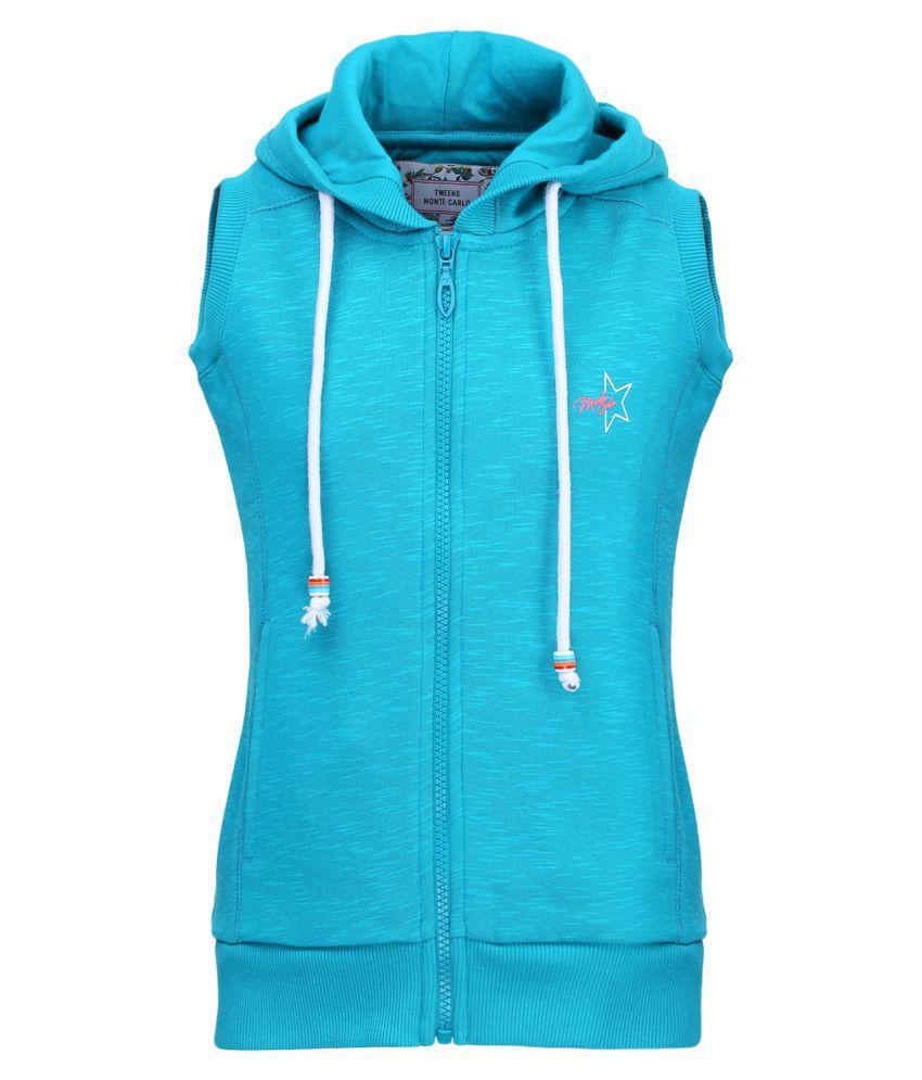 Monte Carlo Blue Solid Cotton Hood Sweatshirts