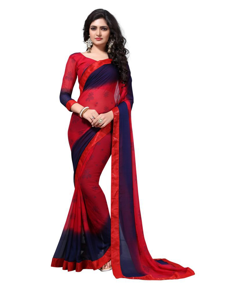 Bhumik Enterprise Red Georgette Saree