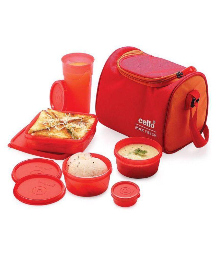 Cello Red Polypropylene (PP) Lunch Box