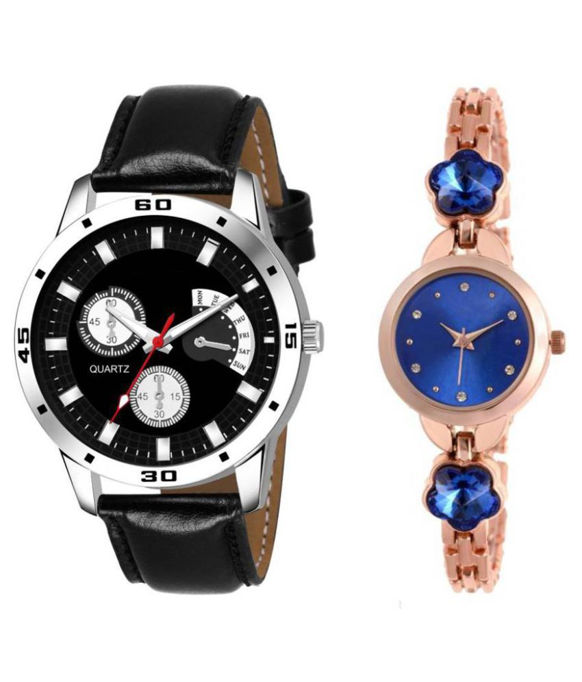 Lovren Pack Of Two Metal And Leather Strap Fast Selling Combo For Boys And Girls