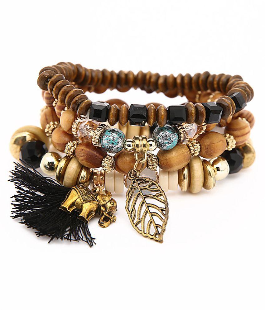 YOLO Fashion FRinged Multilayer Hmade Turquoise Elephant Leaf Bracelet Jewellry Accessories