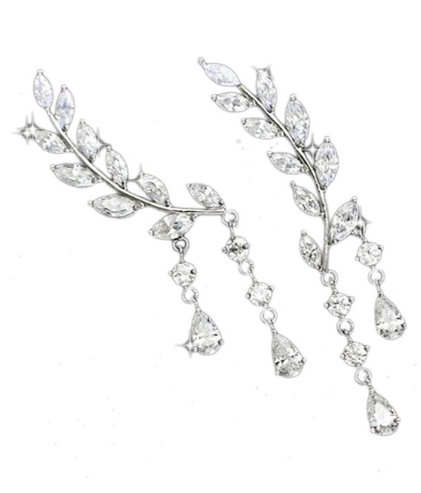 Women Casual Leaf Shape Rhinestone Push Back Pierced Ear Stud Earrings