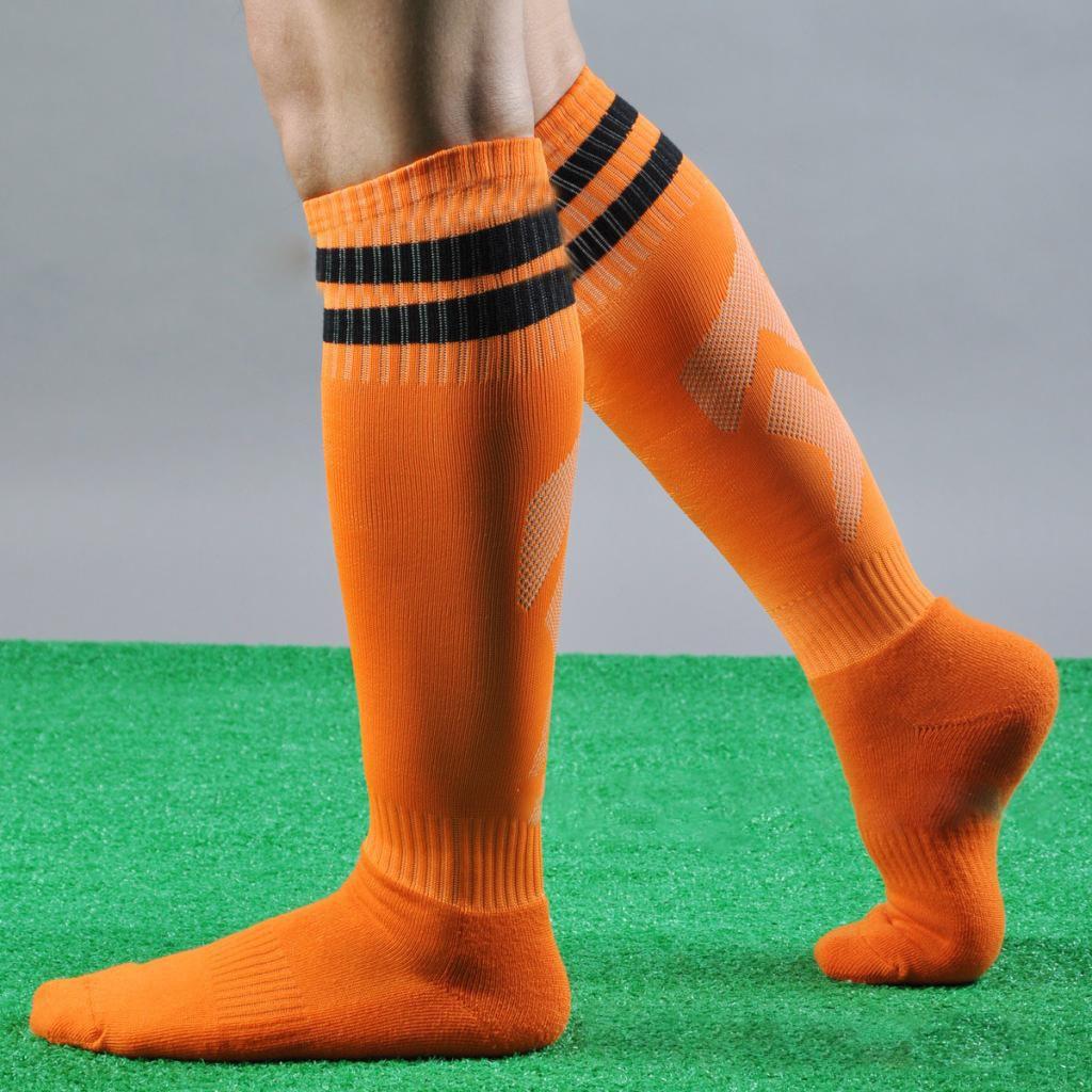 1ee11711210 ... Men Women Striped Over The Knee Football Thigh High Stockings Sport  Long Socks ...