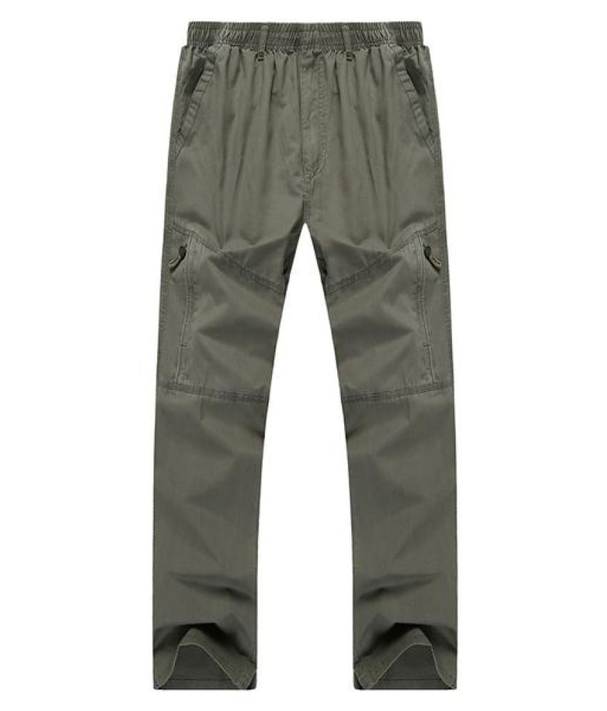 Mens Casual Straight Leg Loose Trousers Solid Color Elastic Waist Multi Pocket-pants
