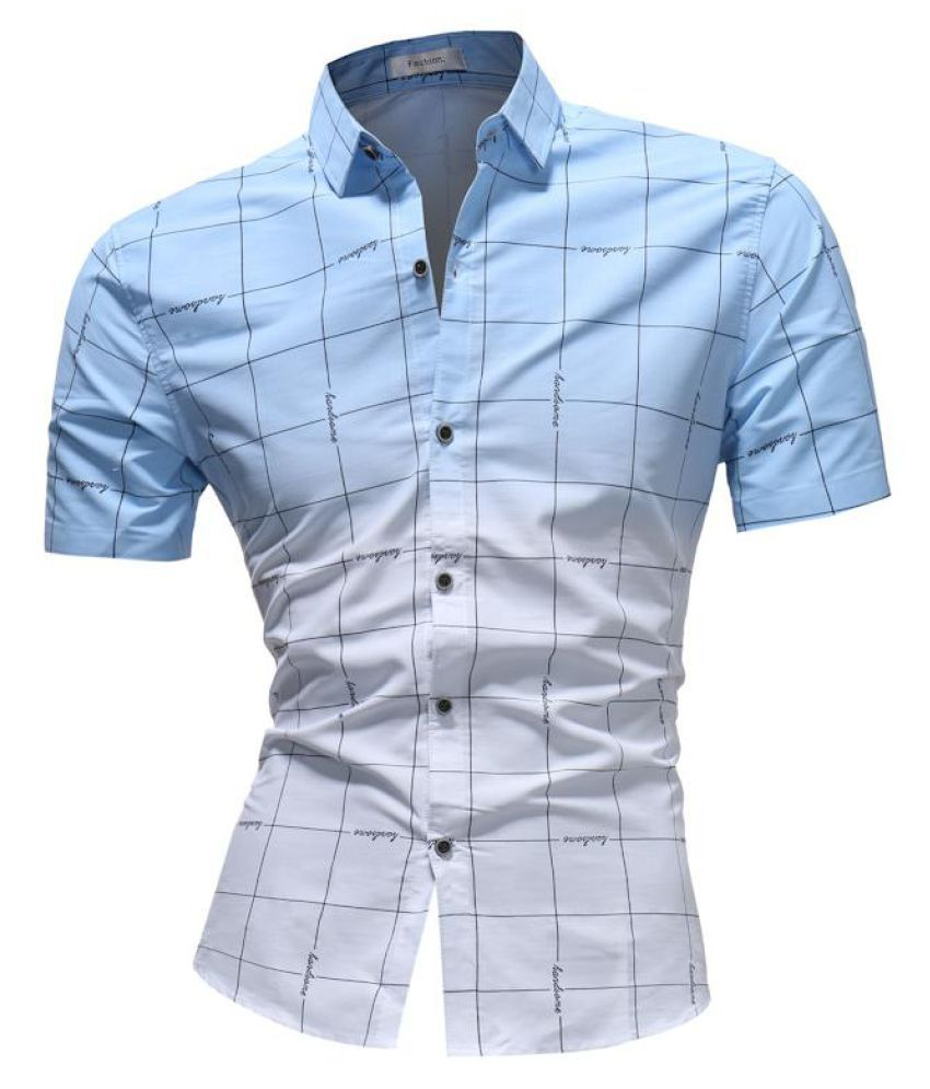 7afb455625c ... Mens Summer Slim Fit Short Sleeve Contrast Color Plaid Fashion Casual  Shirts ...