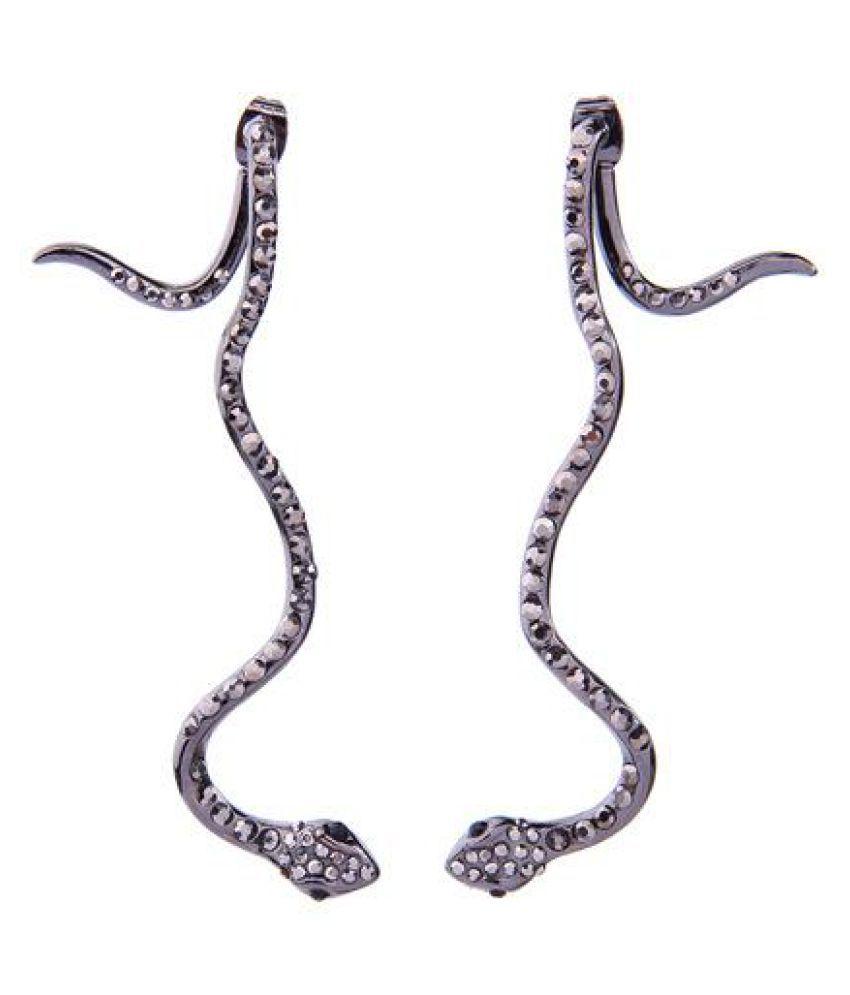 Punk Snake Piercing Drop Earrings Statement Micro Paved Rhinestone Womens Earrings Party Jewelry