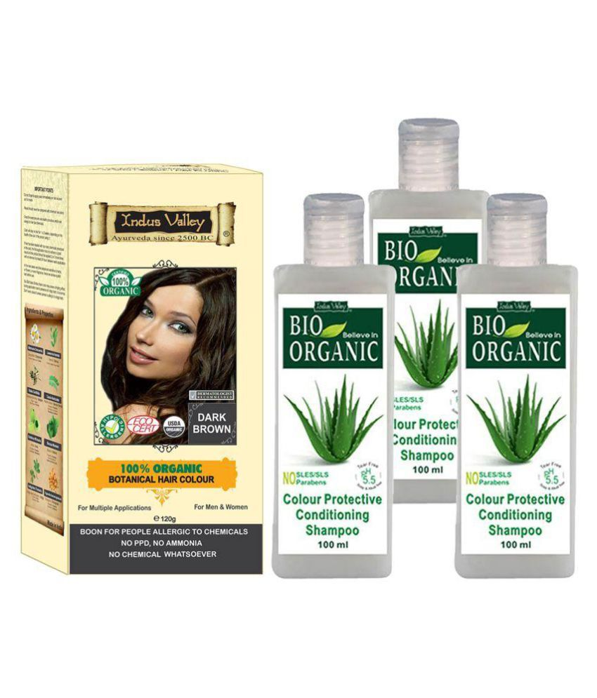 Indus Valley Botanical Dark Brown Hair Color For Allergic Sufferers With 3 Color Protective Shampoo