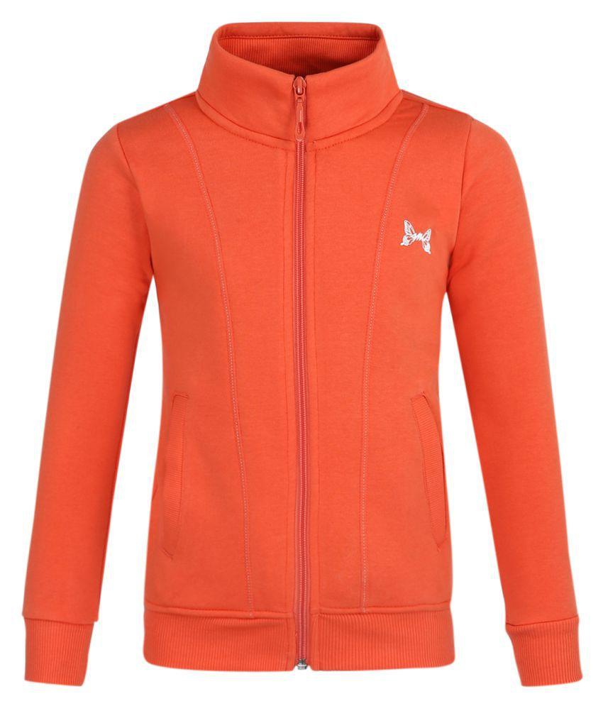 Monte Carlo Orange Solid Cotton Polo Collar Sweatshirts