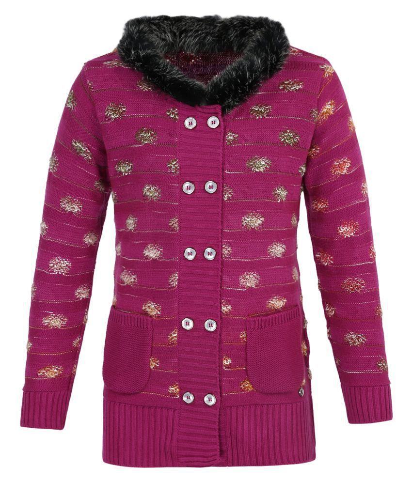 Monte Carlo Pink Embellished Wool Blend Round Neck Cardigan