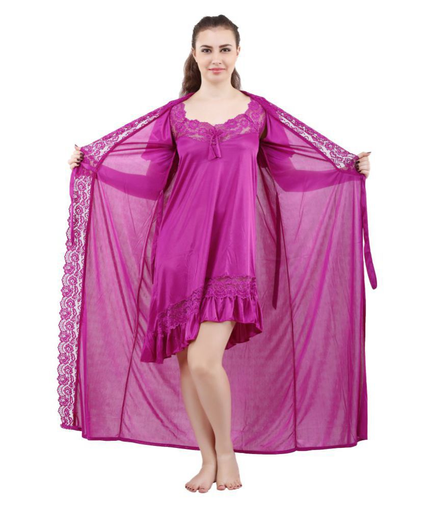 95882058ae Buy Romaisa Satin Nighty & Night Gowns - Purple Online at Best Prices in  India - Snapdeal