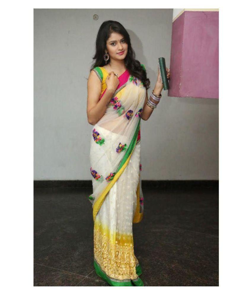 Radhika Creation White Net Saree