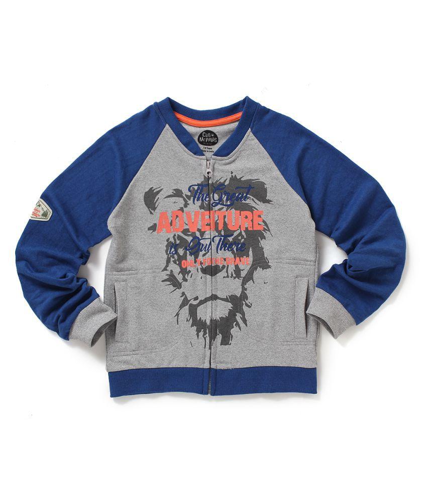 Cub McPaws Boys Raglon Sleeve With Front Open Zip  Royal Blue- Grey   Full Sleeve Round Neck  Sweat Shirt   4-12 Years