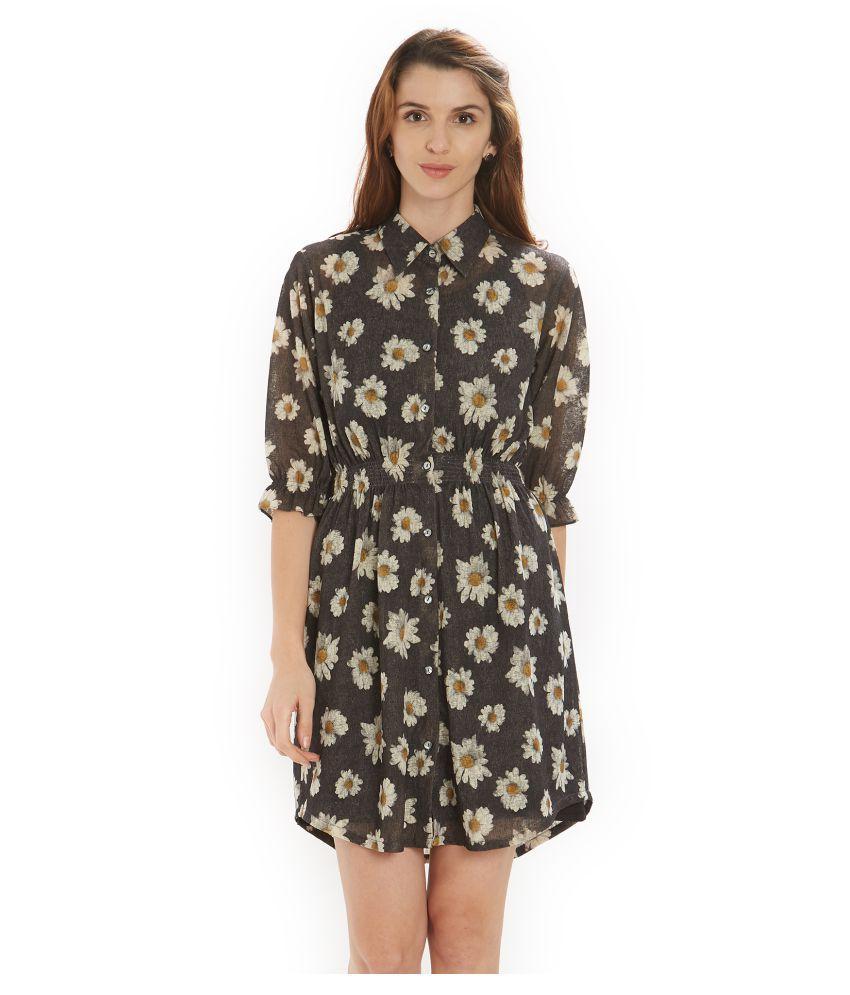 Soie Polyester Grey Shirt Dress