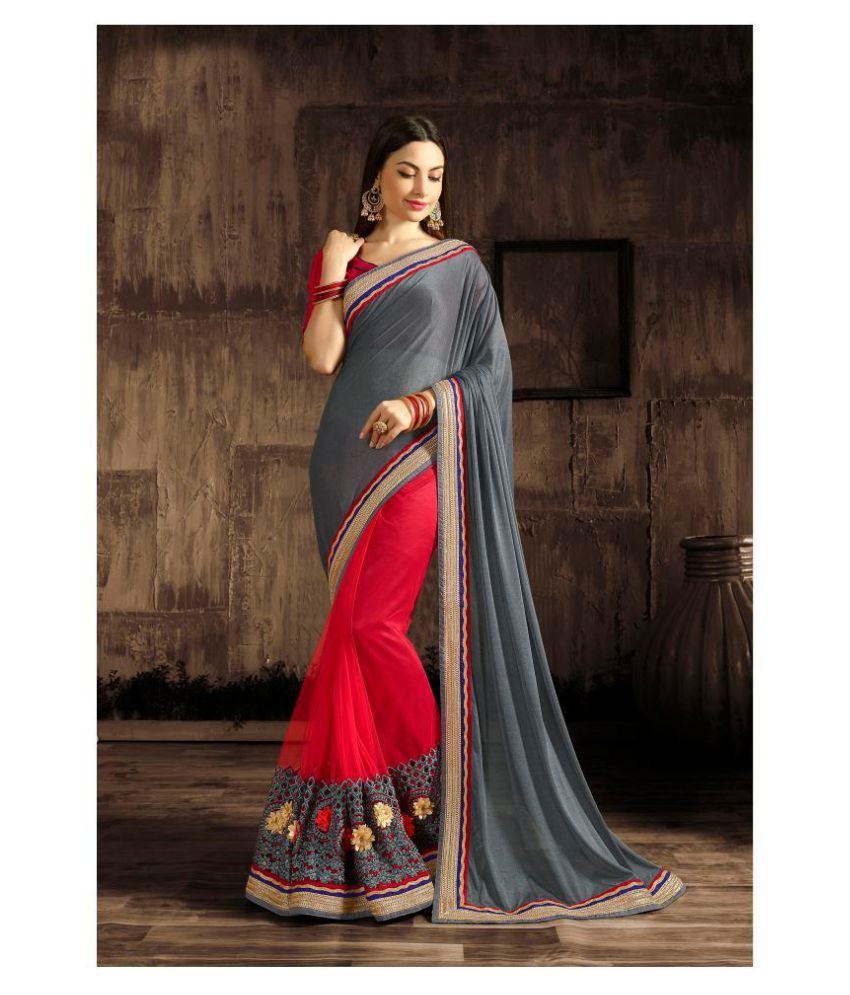 Liberty Lifestyle Silver Georgette Saree