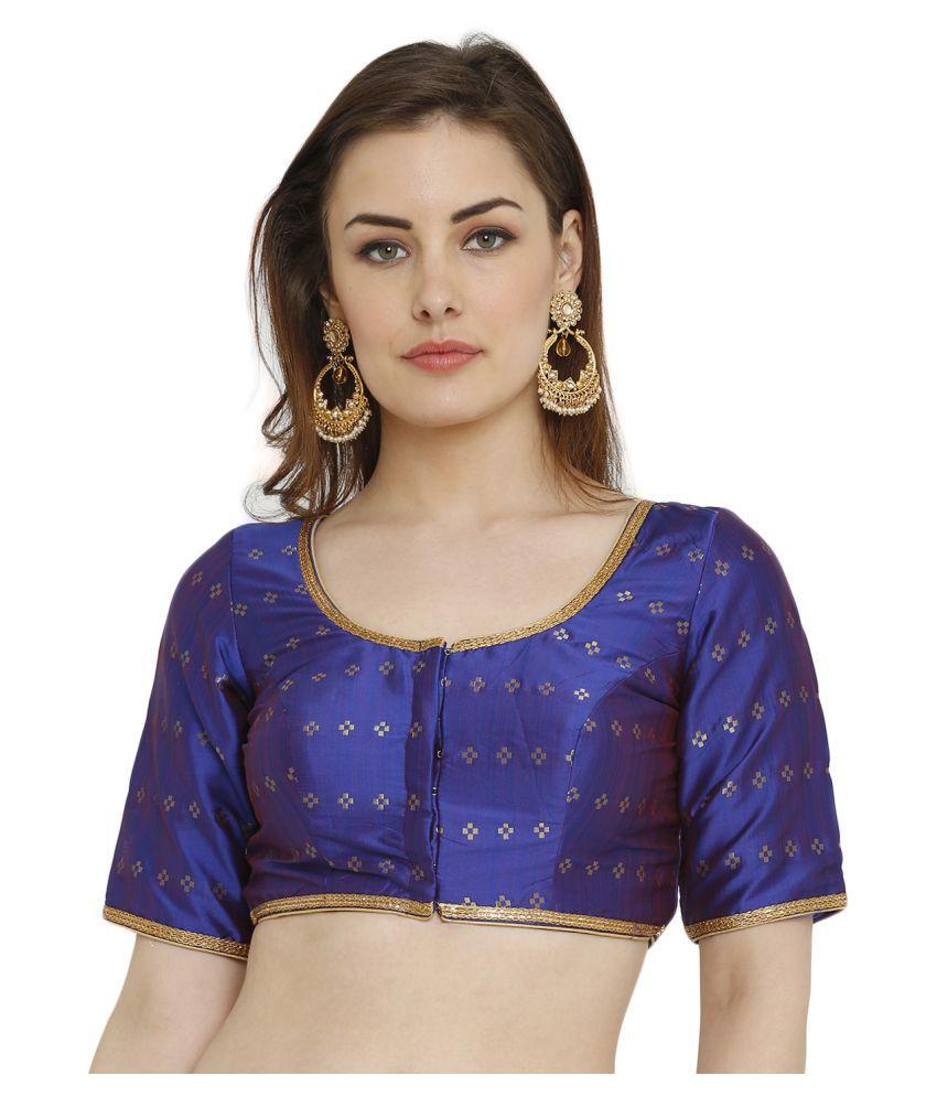 Salwar Studio Blue Silk Readymade with Pad Blouse