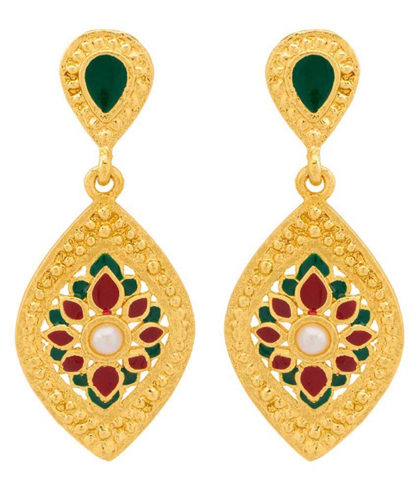 Voylla Floral Design Leaf Motif Gold Plated Dangler Earrings For Women